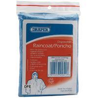 Draper Disposable Polythene Raincoat / Poncho With Hood