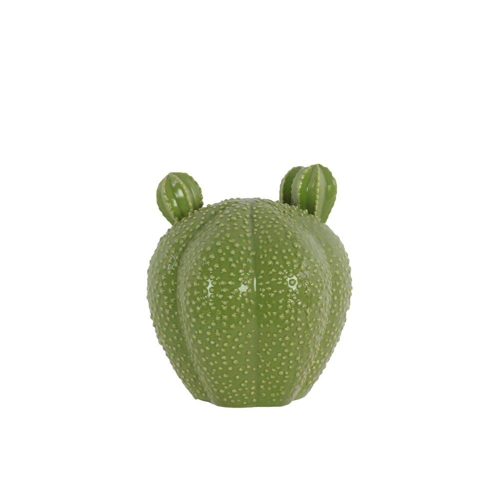 Ceramic Bishop's Cap Cactus Figurine SM Gloss Finish Green