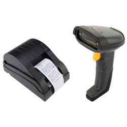 Wireless Barcode Scanner Reader Black 30-50m   USB 58mm Thermal Printer Compatible ESC POS Command