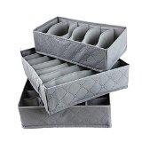 VIKEN Folding Grid Storage Box For Bra,Underwear,Socks - Grey(Set of 3)