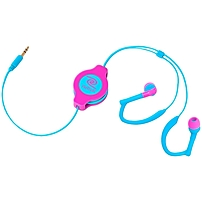 Retrak Retractable Neon Pink And Blue Sports Wrap Earbuds - Stereo - Neon Pink, Blue - Mini-phone - Wired - Gold Plated - Earbud - Binaural - In-ear - 3.90 Ft Cable Etaudwpkbu