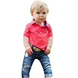 Ecosin® 1Set Boys Autumn paragraph Handsome Denim T-shirt Red Denim Trousers (120/6T)