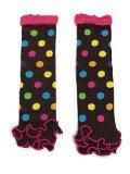 KWC - Brown Colorful Polka Dots Ruffles Baby Leg Warmer/ Leggings (Bubblegum)