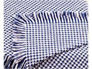 Cobalt Blue Hanover Houndstooth Eco2Cotton Afghan Throw Blanket 50 x