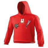 123t Unisex Men's Women's MEXICAN STANDOFF ROCK PAPER SCISSORS DESIGN (S - RED) HOODIE