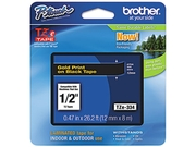 Brother TZE334 TZe Standard Adhesive Laminated Labeling Tape, 1/2w, Gold on Black