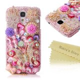 Mavis's Diary 3D Handmade Crystal Sparkling Butterfly Colorful Flower Rhinestone Crown Snowflake Heart Shaped Diamond Pink Bling Cover Case with Soft Clean Cloth (Samsung Galaxy S4 S Iv SIV S 4 Iv Gt-i9500 9505 M919)