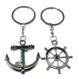 4EVER Romantic Stainless Alloy Metal Silver Nautical Steering Wheel Anchor & Love Boat Rudder Helm Couple Keychain with Gift Box Sweetheart Pendant Lovers Key Ring Key Chain Best for Valentine's Day Wedding Anniversary (A Pair)
