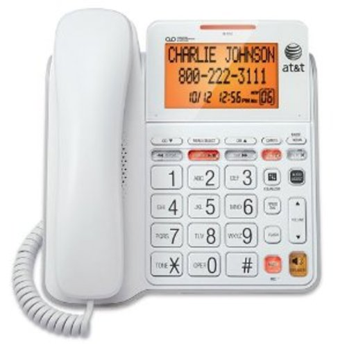 At And T Cl4940wh 1-handset Landline Telephone With Large Display - Corded - White