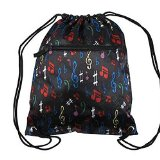 Music Notes Drawstring Sling Backpack Marching Band Book Bag Rope Straps