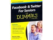 Facebook and Twitter for Seniors for Dummies For Dummies 2 Binding: Paperback Publisher: For Dummies Publish Date: 2014/08/18 Synopsis: Provides information for seniors on the social networking sites Facebook and Twitter, covering such topics as staying safe on the Internet, using email, setting up a Facebook profile, and finding trending topics on Twitter