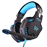 Engadget Zone EACH G2100 Vibration Function Professional 3.5mm PC Gaming Headphone Games Headset with Mic Stereo Bass LED Light for PC Gamer (EACH G2100 Blue)