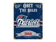 """Party Animal Patriots Vintage Metal Sign - 1 Each - Obey The Rules Print/Message - 11.5"""" Width x 14.5"""" Height - Rectangular Shape - Heavy Duty, Embossed Lettering, Rivet - Steel Type: NFL Color: Black"""
