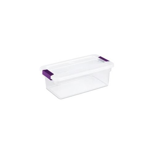 Sterilite 6 Quart ClearView Latch Storage Container With Sweet Plum Handles 175