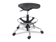 Sit-star Stool With Footring & Caster, 27-36h Seat, Black/chrome
