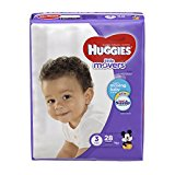 HUGGIES LITTLE MOVERS Diapers, Size 3 (16-28 lb.), 28 Ct, JUMBO PACK (Packaging May Vary), Baby Diapers for Active Babies