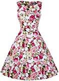 OWIN Women's Vintage 1950's Floral Spring Garden Picnic Dress Party Cocktail Dress (M, Chrysanthemum)