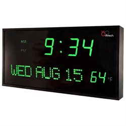 DBTech Big Digital LED Calendar Clock w/ Day Date & Temperature (12 Green LED)