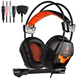 Sades SA921 Stereo Gaming Headset Over Ear Computer Headphone With Mic 3.5mm Jack For PC/XBOX ONE/PS4 Orange (Adapter Contains)