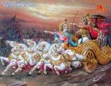 Lord Krishna and Arjun in Mahabharata / Geeta Updesha Poster (Size: 11X9 Inches Unframed)