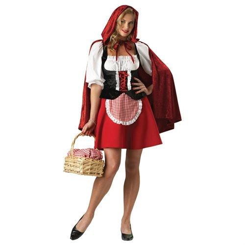 In Character Costumes, LLC Red Riding Hood Adult Peasant Dress, Red/White/Black, Large