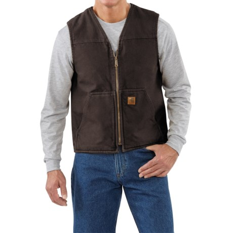 Carhartt Sandstone V-neck Vest - Sherpa Lining, Factory Seconds (for Men)