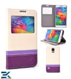View Flip Cover Case with Stand compatible for the Samsung Galaxy S5 - PURPLE. Bonus Ekatomi Screen Cleaner*