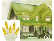 Set of 100 Yellow Icicle Christmas Lights - White Wire
