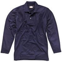 Dickies Mens Long Sleeve Polo Shirt Navy Blue 2XL