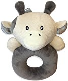 X-Large Premium Baby Rattle, Extra Soft Plush Cow Teether, (BPA Free), by LittleFoot Nation, Safe for Teething, Develops & Improves Baby's Hand-Eye Coordination