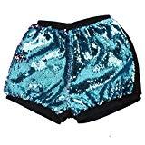 Funic Womens Two Toned Reversible Mermaid Fishscale Sequin Shorts Summer Beach Short Pants (M, Mint Green)