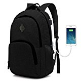 Laptop College Backpack Waterproof Lightweight Minimalism with USB Charging Port Business School Book Bag Travel Hiking Camping Outdoor Daypack Rucksack Fits 15.6-Inch Notebook (Black)
