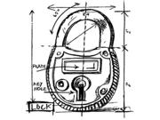 Tim Holtz Red Rubber Stamp-lock Sketch