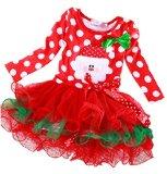 CANIS® Baby Girl Mrs Santa Suit Palka Dot Christmas Tutu Veil Dress (120/5-6yrs, red)