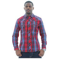 JNCO Men's Woven Button Down Plaid Shirt Long Sleeve