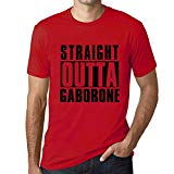 One in the City Men's T Shirt Vintage Graphic Tee Straight Outta Gaborone Red XX-Large