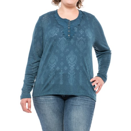 North River Burnout Waffle-knit Henley Shirt - Long Sleeve (for Plus Size Women)