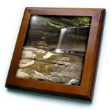 3dRose ft_90172_1 Waterfall, LaSalle Canyon, Starved Rock, Illinois - US14 CHA0026 - Chuck Haney - Framed Tile, 8 by 8-Inch
