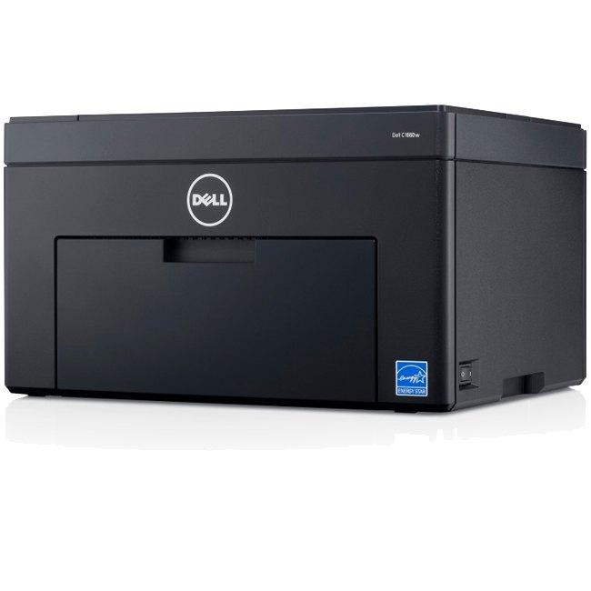 Dell C1660W LED Printer - Color - 600 x 600 dpi Print - Plain Paper Print - Desktop - 12 ppm Mono / 10 ppm Color Print - 150 sheets Standard Input Capacity - 30000 Duty Cycle - Manual Duplex Print - LCD - Wireless LAN - USB
