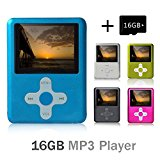 Lecmal Portable MP3/MP4 Player Music Player Voice Recorder with 16G Micro SD Card Mini USB Port - Economic Multifunctional MP3 Player / MP4 Player Media Player Flash Disk (Blue)