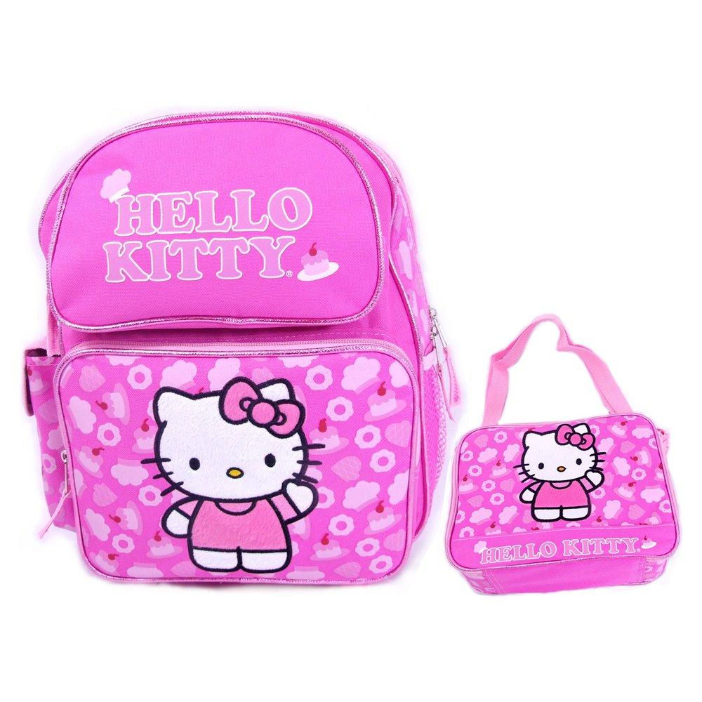 Sanrio Hello Kitty Large School Backpack Lunch Bag Set - Black