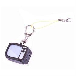 Black Retro Bright LED TV Television Keyring Keychain Key Chain