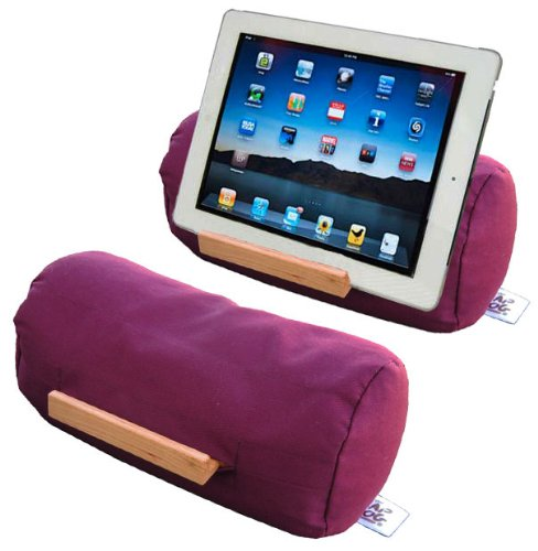 Lap Log - Soft Beanbag Tablet Stand - Plum Wine - Perfect for Tablets of All Sizes Plus eReaders and Smartphones. Adjustable to Any Angle and Stable on All Surfaces. Ranked Highest on Amazon in Customer Satisfaction. Made in the USA from Sustainable Materials.