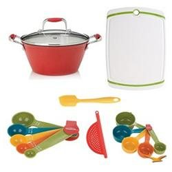 Fagor Cast Iron Red Lite Soup Pot with Lid, Board, and Measuring Sets Bundle