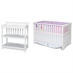 Child Craft London Euro Crib and Upscale Convertible Changing Table