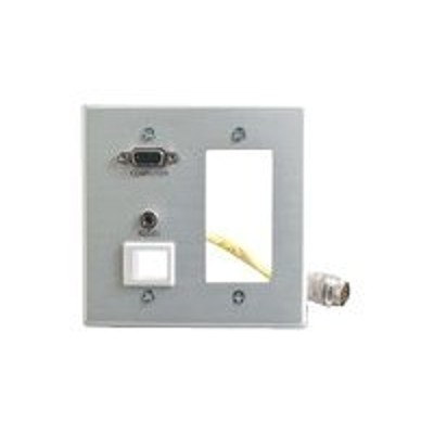 C2g 42354 Double Gang Integrated Vga (hd15)   3.5mm   Decorative Style Cut-out Wall Plate - Brushed Aluminum - Mounting Plate - Hd-15  Mini-phone Stereo 3.5 Mm