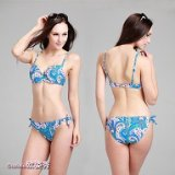 Women's Foshion Sexy Slim Cashew flowers patterned bra two piece bikini suitmsuit
