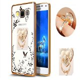 Samsung J7 Floral Crystal TPU Case-Auroralove Soft Slim Bling Plating Rubber Bumper Cover for Samsung Galaxy J7 with Rhinestone Diamond Element Detachable 360 Ring Stand for Girls Women(Gold White)