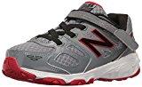 New Balance Boys' KA680 Running Shoe, Grey/Black/Red, 1.5 Medium US Little Kid