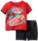 Children's Apparel Network Baby Boys 2 Piece Knit Pullover and Short, Red, 12 Months